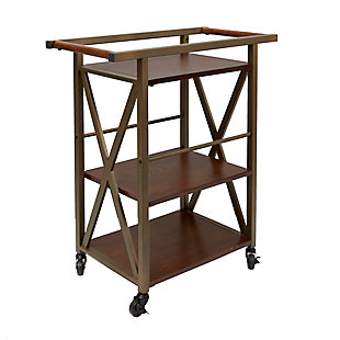 Rolling Gold Finish 2-Tier Bar Cart, , large