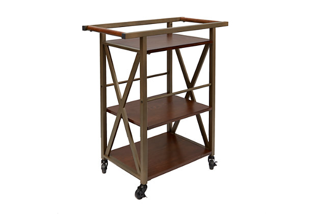 Rolling Gold Finish 2 Tier Bar Cart Large
