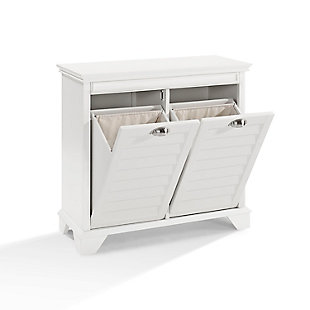 Dual Linen Hamper, White, large