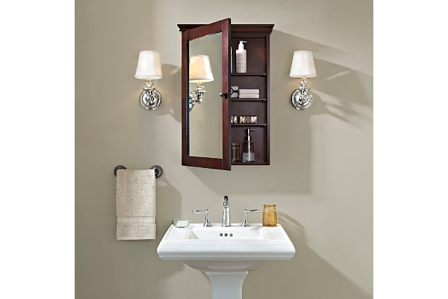 Mirrored Wall Medicine Cabinet, Espresso, large