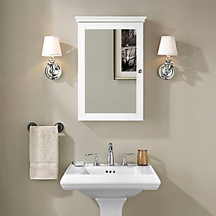 Mirrored Wall Medicine Cabinet, White, rollover