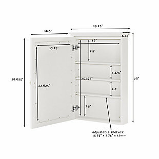 Mirrored Wall Medicine Cabinet, White, large