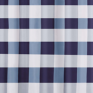 Buffalo Plaid Shower Curtain, White/Navy, large
