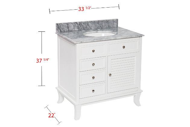 Gray Marble Bathroom Vanity and Sink, , large