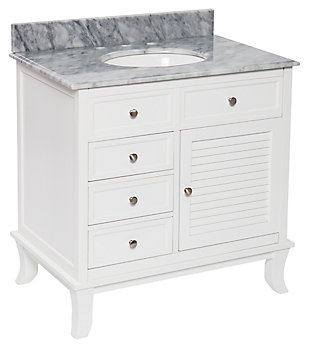 Gray Marble Bathroom Vanity and Sink, , large