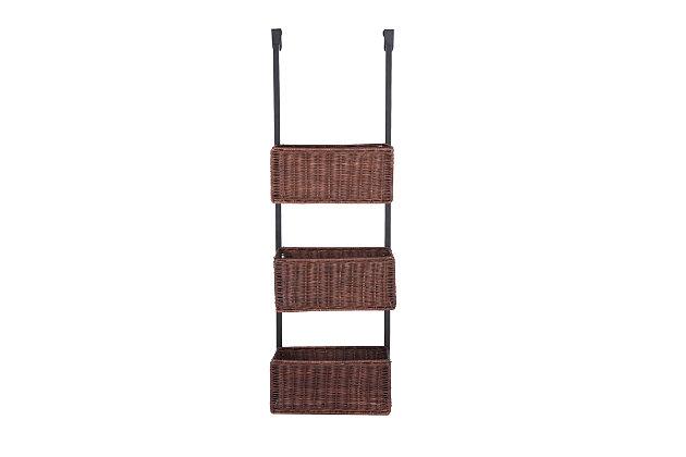 Wicker 3-Tier Over the Door Basket Storage, , large