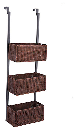 Wicker 3-Tier Over the Door Basket Storage, Black/Espresso, large