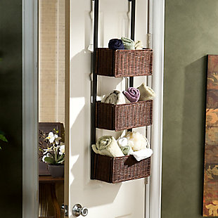 Wicker 3-Tier Over the Door Basket Storage, , rollover