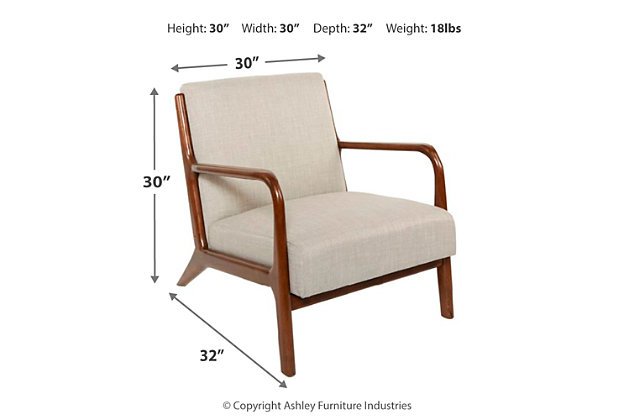 Gace Wood and Upholstered Mid Century Accent Chair, , large