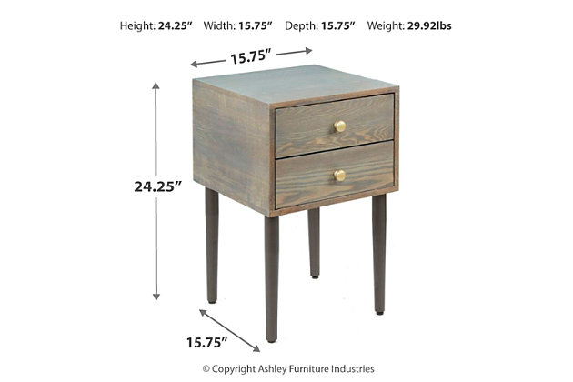 Gela 2 Drawer Mixed Material Mid-Century Modern Side Table, , large