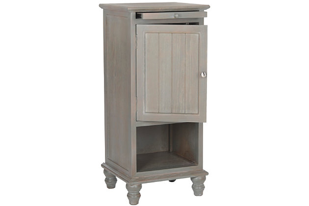 Wooden Storage Cabinet with Pull Out Tray, Gray, large