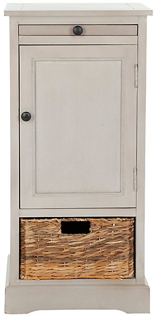 Wicker Basket Tall Storage Cabinet, Vintage Gray, large