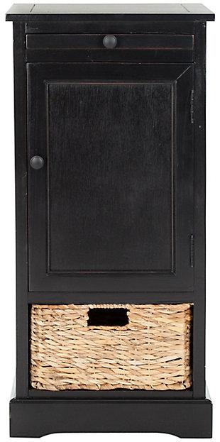 Wicker Basket Tall Storage Cabinet, Distressed Black, large