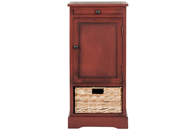 Wicker Basket Tall Storage Cabinet, Red, large