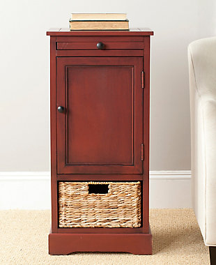 Wicker Basket Tall Storage Cabinet, Red, rollover