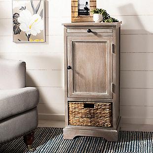 Wicker Basket Tall Storage Cabinet, , rollover