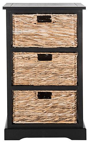 Three Tiered Basket Storage Shelf, Distressed Black, large