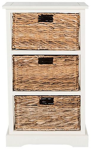 Three Tiered Basket Storage Shelf, Distressed White, large