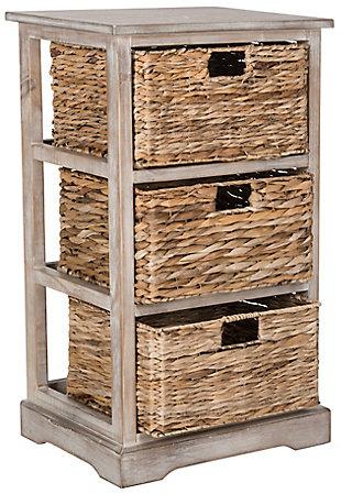Three Tiered Basket Storage Shelf, Vintage White, large