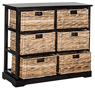 Six Tiered Basket Storage Chest, Distressed Black, large