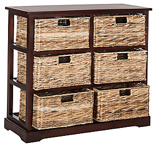 Six Tiered Basket Storage Chest, Red, large