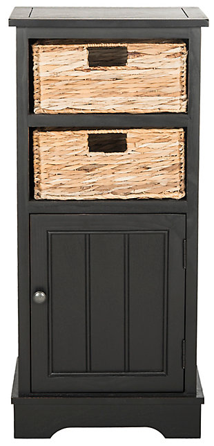 Floor Storage Cabinet, Distressed Black, large