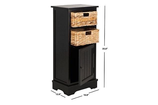 Floor Storage Cabinet, Distressed Black, large