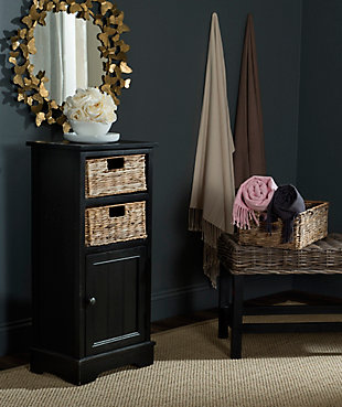 Floor Storage Cabinet, Distressed Black, rollover