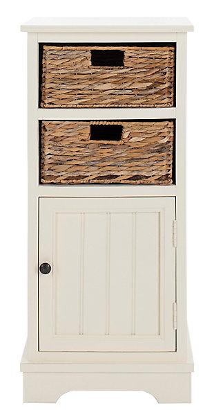 Floor Storage Cabinet, Distressed White, large