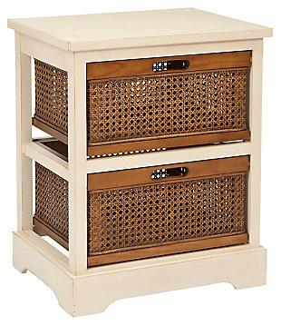 Rattan 2 Drawer Storage Cabinet, , large