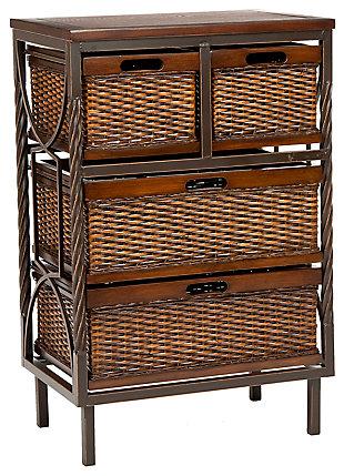 Wicker 4 Drawer Storage Cabinet, , large