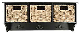 Three Basket Storage Shelf, Black, rollover