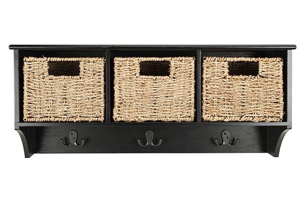 Three Basket Storage Shelf, Black, large