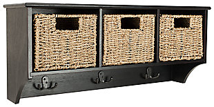 Three Basket Storage Shelf, Black, large