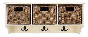Three Basket Storage Shelf, White, large