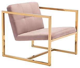 Modern Velvet Accent Chair, Pink, large