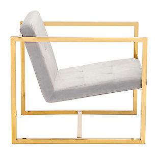 Modern Velvet Accent Chair, Gray, large