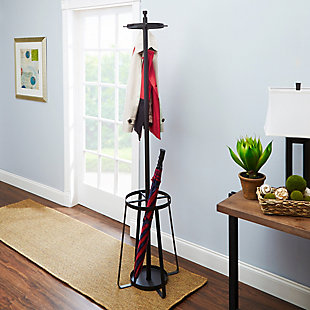 """Glacial 72.5"""" Standing Coat Rack with Umbrella Stand, , rollover"""