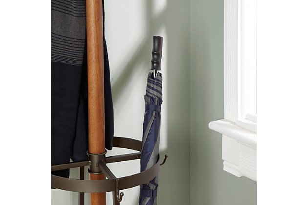 Kendel Wood and Metal Coat Rack with Umbrella Stand, , large