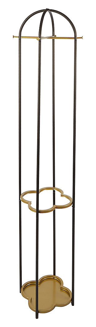Luxus Metal Coat Rack with Golden Quatrefoil Umbrella Stand, , large
