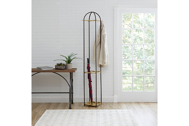 Luxus Metal Coat Rack with Golden Quatrefoil Umbrella Stand, , large