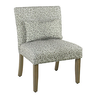 Cheetah Print Accent Chair with pillow, Gray Wash, large