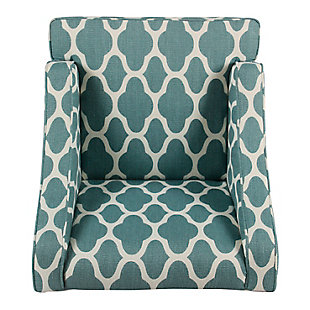 Classic Geometric Swoop Arm Chair, Teal/White, large