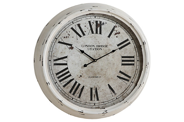 White Home Accents Wall Clock by Ashley HomeStore