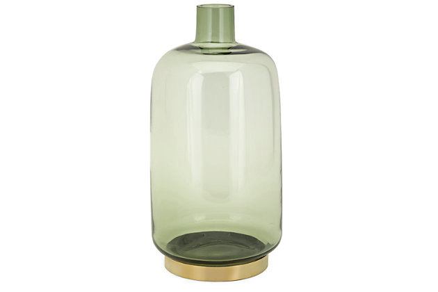 Macaire Sage Large Glass and Metal Vase, , large