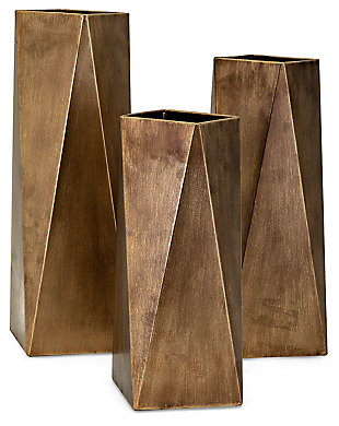 Borsari Contempo Metal Vases (Set of 3), , rollover