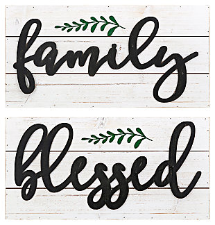 Distressed Blessed Family Wall Decor (Set of 2), , large