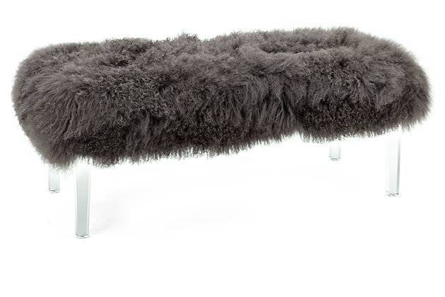 Luxus Arden Tibetan Fur and Acrylic Bench, , large