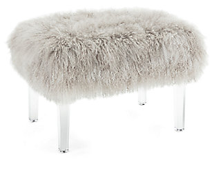 Luxus Brietta Tibetan Fur and Acrylic Bench, , large
