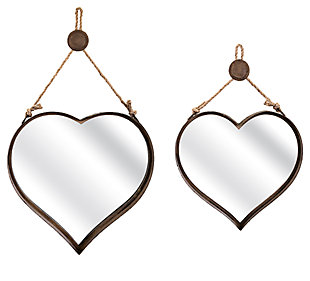 Heart Shape Wall Mirrors (Set of 2), , large